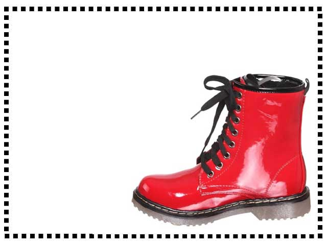 Lace Up Bright Red Ankle Rain Combats