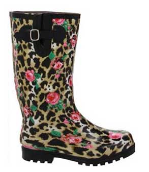 leopard and rose rain boots