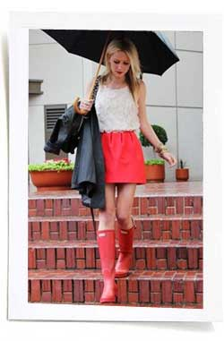 red mini dress and hunter wellies