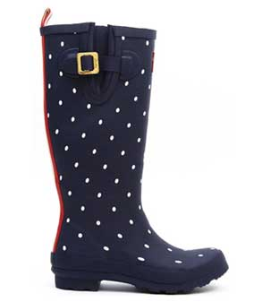 joules navy polka dot wellie boot