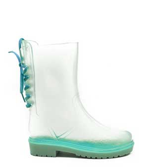 Clear rear lace up rain boots