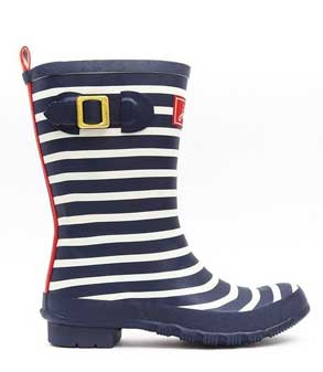 Joules Molly Welly Navy Blue Stripe Ladies Rain Boots
