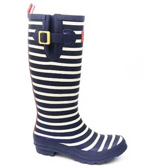 Joules Wellyprint navy stripe rain boots