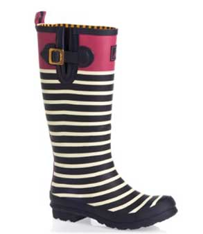 joules wellyprint stripped magenta top wellington boot