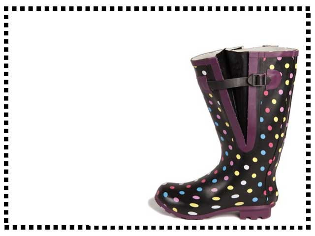 Colored Polka Dot Wide Calf Wellies