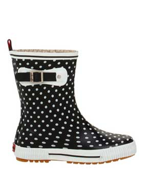 Black-and-white-polka-dot-ankle-rain-boots