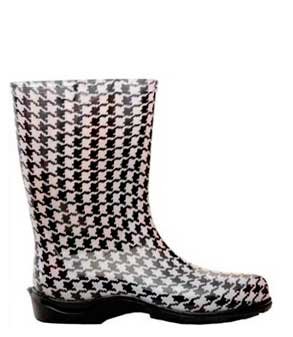 black-and-white-hounds-tooth-rain-boots