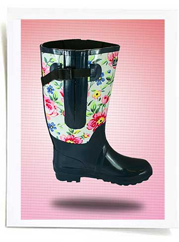 Floral extra wide calf rain boots