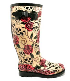 skull and roses rain boots