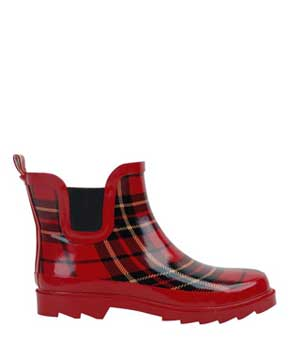 Red plaid ankle rain shoes