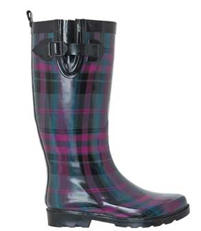 Purple plaid wellington rain boots