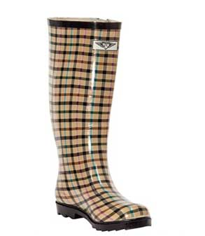 Brown Plaid wellington boots